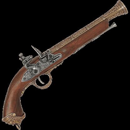 18th Century Italian Flintlock Pistol Brass