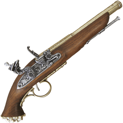 18th Century Pirate Flintlock Pistol Brass