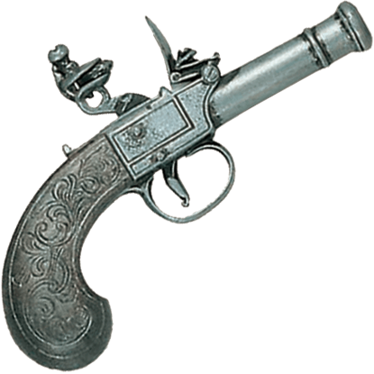 18th Century Replica Flintlock Pistol Pewter