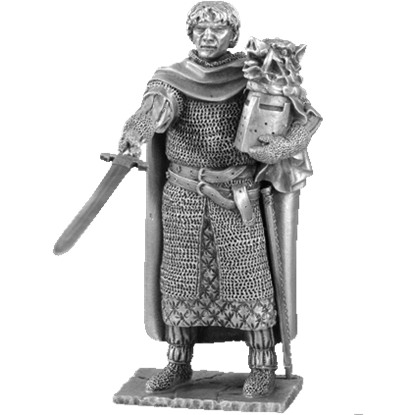 Pewter Galahad And Chair Sculpture