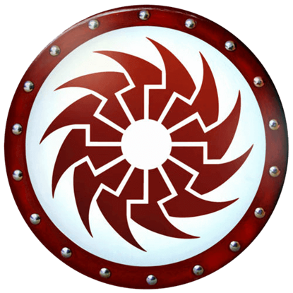 Round Crimson Sun Wooden Shield