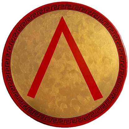 Wooden Gold Greek Lambda Shield