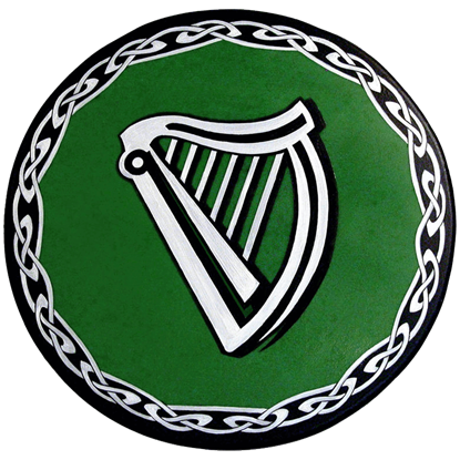 Round Celtic Harp Wooden Shield