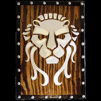 Early Wooden Roman Lion Face Shield