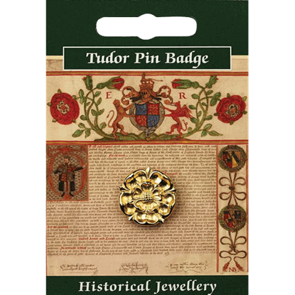 Gold Plated Tudor Rose Pin Badge