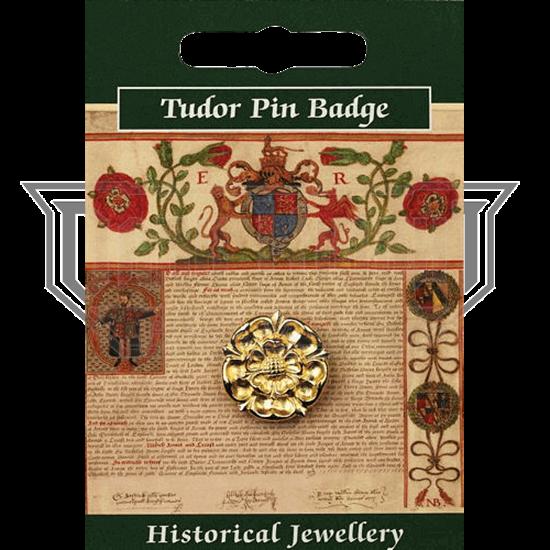 Gold Plated Tudor Rose Pin Badge
