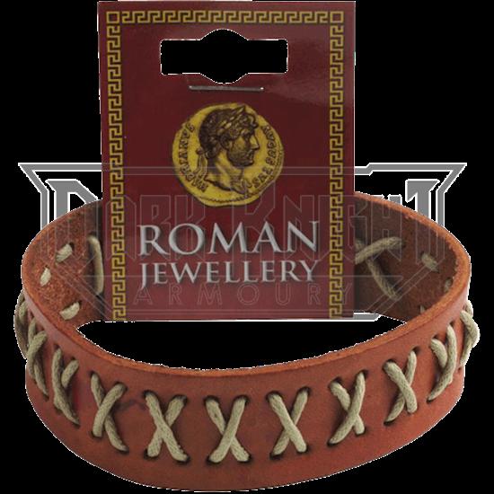 Roman Stitched Leather Stud Bracelet