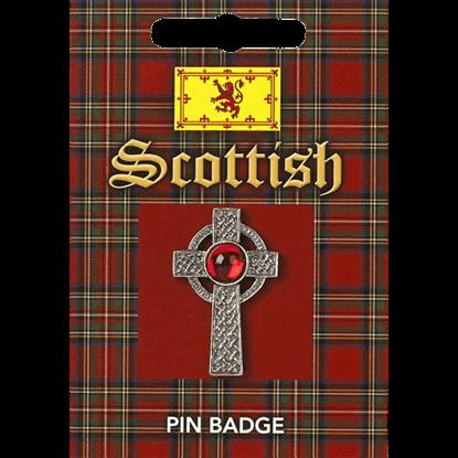 Scottish Celtic Gem Cross Pin Badge