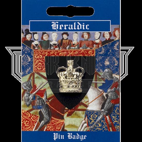 Gold Heraldic Crown Pin Badge