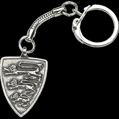Heraldic Lions Pewter Key Ring