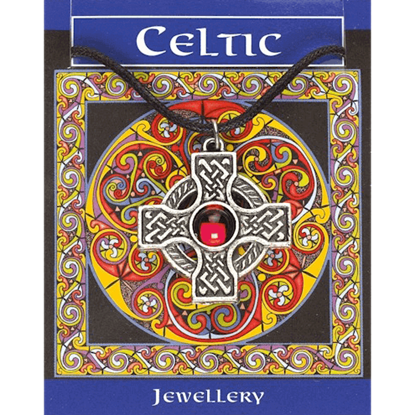 Interlaced Celtic Cross Circle Gem Necklace