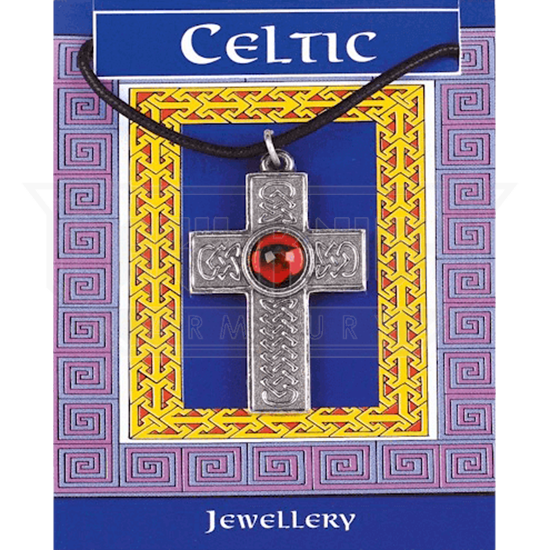 Large Interlaced Celtic Cross Gem Necklace