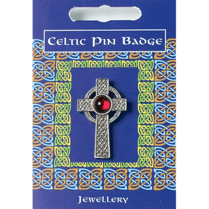 Interlaced Celtic Cross Gem Pin Badge