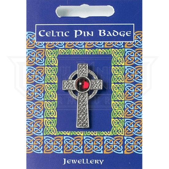 Interlaced Celtic Cross Gem Pin Badge