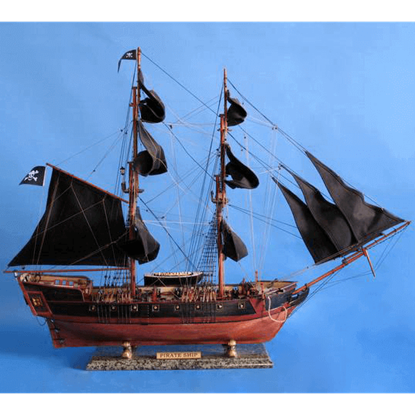 37-Inch Black Caribbean Pirate Ship Model