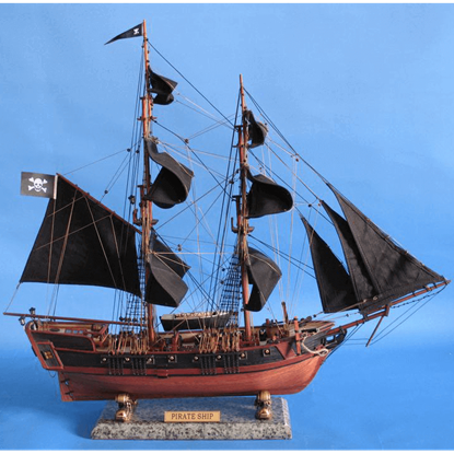 26-Inch Black Caribbean Pirate Ship Model