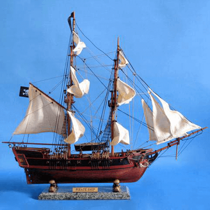 26-Inch White Caribbean Pirate Ship Model