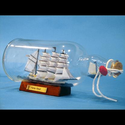 Blue Flying Cloud Ship in a Bottle