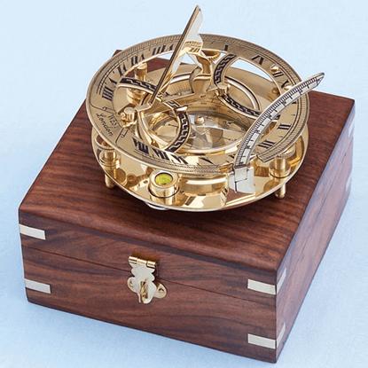 Brass 6 Inch Round Sundial Compass
