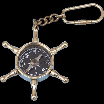 Brass Wheel Compass Keychain