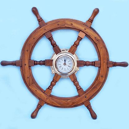 24-Inch Ship Wheel Clock