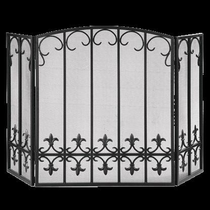Fleur de Lis Triple Panel Fireplace Screen