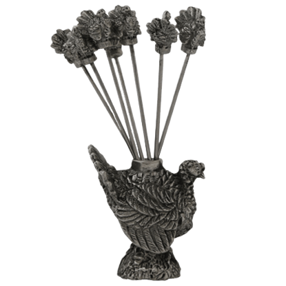 Pewter Turkey Cheese Pick Set
