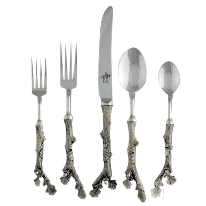 5 Piece Pewter Acorn Flatware Set