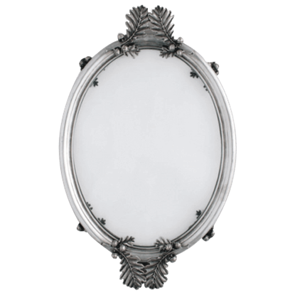 Acorn and Oak Leaf Oval Glass Serving Tray