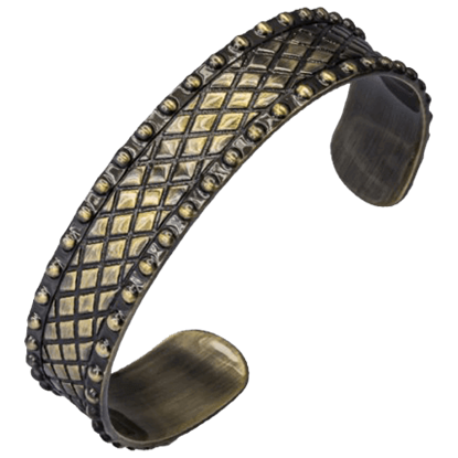 Antique Brass Grid Pattern Bangle