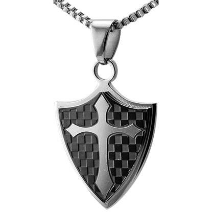 Checkered Cross Shield Pendant