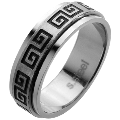 Greek Scroll Pattern Spinner Ring