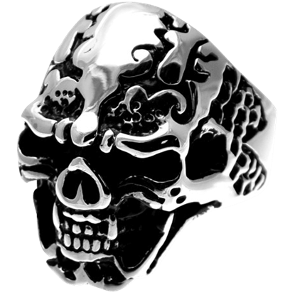 Fanged Tribal Skull Ring