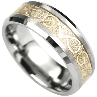 Golden Dragon Scroll Tungsten Ring