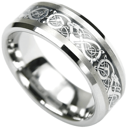 Dragon Scroll Tungsten Ring