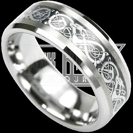 Dragon Scroll Tungsten Ring