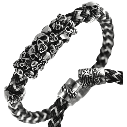 Braided Rubber and Wire Skull Bracelet