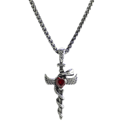 Snake Heart Stone Dagger Necklace