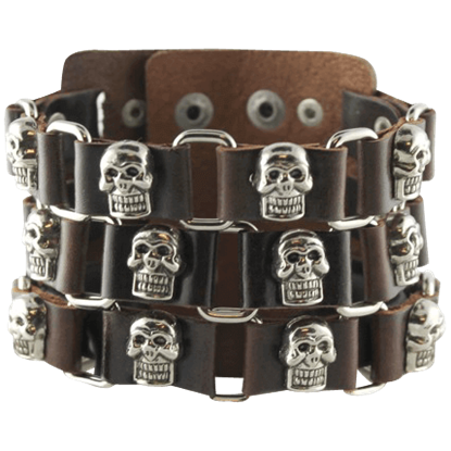 Pirate Skull Leather Bracelet
