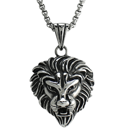 Antiqued Lion Head Necklace