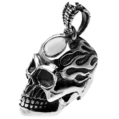 Big Flaming Skull Pendant