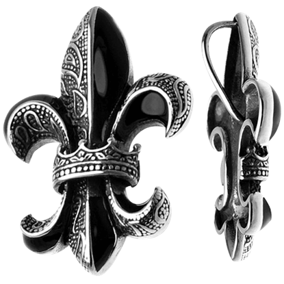 Black and White Fleur de Lis Pendant
