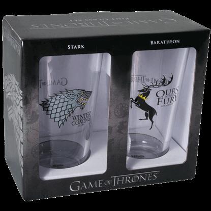Stark and Baratheon Pint Glass Set