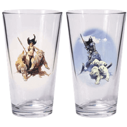 Silver Warrior and The Huntress Glass Set