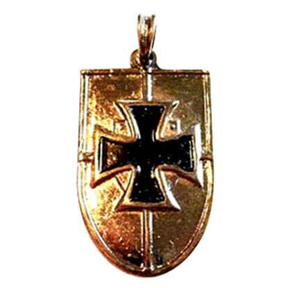 German Shield Pendant with Cross - Gold Finish