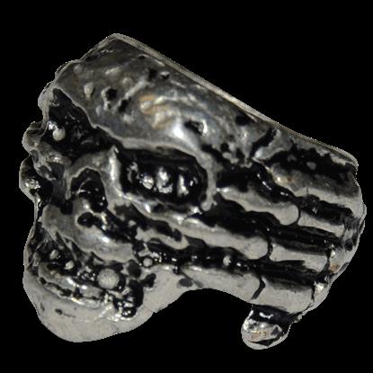 Skull In Hand Ring - Silver Finish