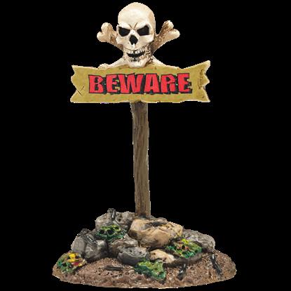 Beware The Boneyard Sign - Halloween Village Accessories by Department 56