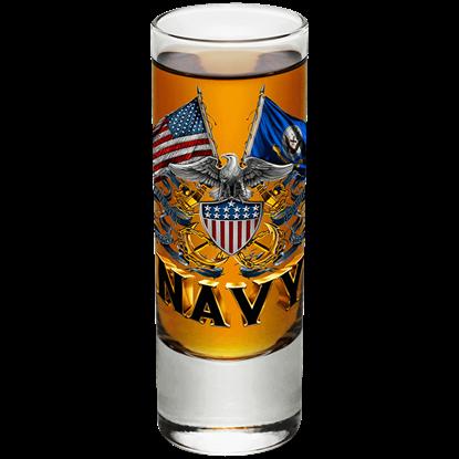 U.S. Navy Double Flag Eagle Shooter Glass
