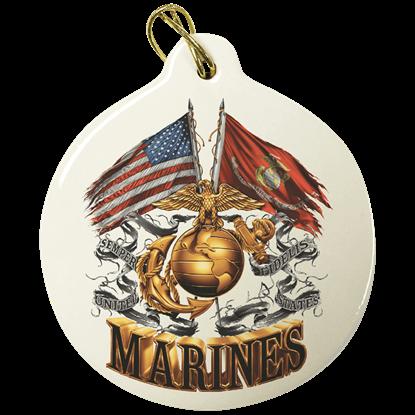 USMC Double Flag Eagle Ornament