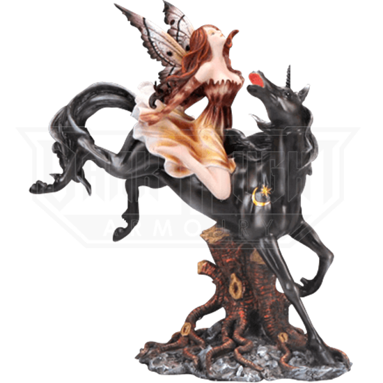 Autumnal Fairy with Black Unicorn Statue